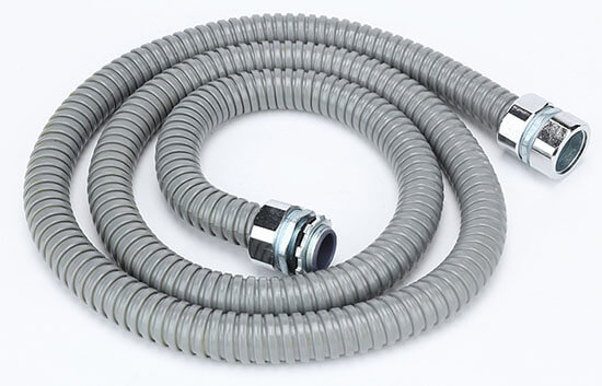 grey pvc coated flexible conduit with connectors