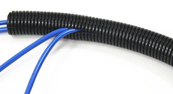 flexible split conduit with wire