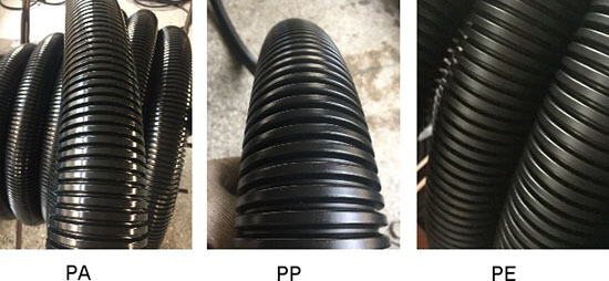PA, PP, PE big size flexible conduit show