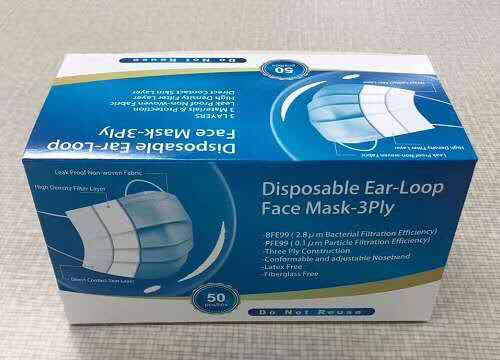 Disposable earloop face mask package